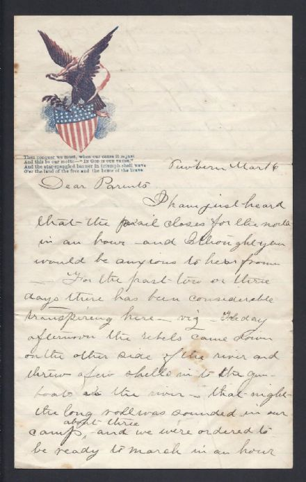 American Civil War Printed Stationery Signed Letter Battle of New Bern 1862